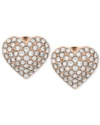 Michael Kors | Pink Rose Gold-Tone Crystal Heart Stud Earrings | Lyst