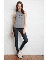 Forever 21 - Gray Buttoned Pocket Shirt You've Been Added To The Waitlist - Lyst