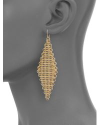 ABS By Allen Schwartz | Metallic Chain Mesh Drop Earrings | Lyst