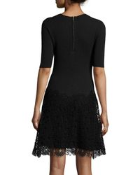 Mugler - Black Sleeveless Mega Milano Mesh-inset Dress - Lyst