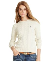 Polo Ralph Lauren - Natural Cable-knit Crew-neck Sweater - Lyst
