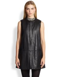 Saint Laurent - Black Leather Gilet - Lyst