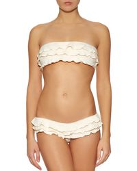 OndadeMar - Natural Ruffled Bandeau Bikini Top - Lyst