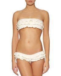 OndadeMar | Natural Ruffled Bandeau Bikini Top | Lyst