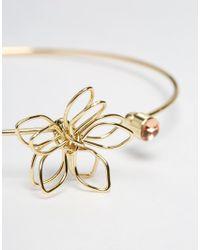 ASOS | Metallic Open Flower & Crystal Cuff Bracelet | Lyst