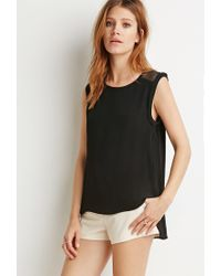 Forever 21 | Black Contemporary Netted Mesh-paneled Top | Lyst