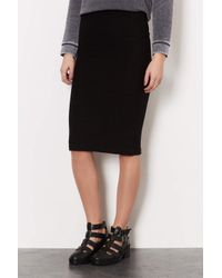 TOPSHOP - Black Texture Midi Tube Skirt - Lyst