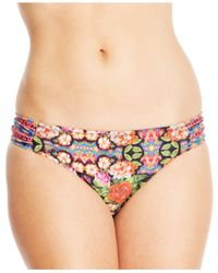 Jessica Simpson | Multicolor Mixed-Print Ruched-Side Bikini Bottom | Lyst