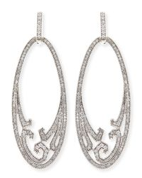 Ivanka Trump | Athenee 18K White Gold & Diamond Oval Scroll Earrings | Lyst
