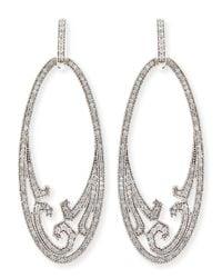 Ivanka Trump - Athenee 18K White Gold & Diamond Oval Scroll Earrings - Lyst