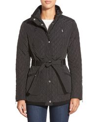 DKNY | Black Belted Quilted Stand Collar Jacket | Lyst