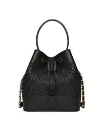 Tory Burch - Black Marion Quilted Mini Bucket Bag - Lyst