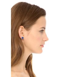Marc By Marc Jacobs | Blue Enamel Logo Disc Stud Earrings - Sapphire | Lyst
