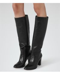 Reiss | Black Andi Knee-high Leather Boots | Lyst
