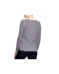 Aqua - Blue Cashmere Ottoman Stripe Button Shoulder Sweater - Lyst