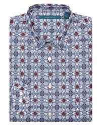 Perry Ellis - White Floral Tile-print Shirt for Men - Lyst