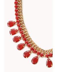 Forever 21 - Red Teardrop Faux Gemstone Bib Necklace - Lyst