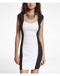 Express - Black Color Block Back Cutout Ponte Knit Dress - Lyst