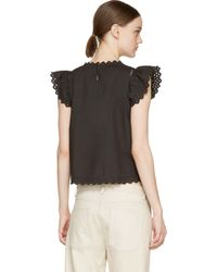 Étoile Isabel Marant - Black Broderie Anglaise Silo Blouse - Lyst