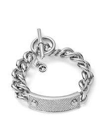 Michael Kors - Metallic Pave Plaque Toggle Bracelet - Lyst