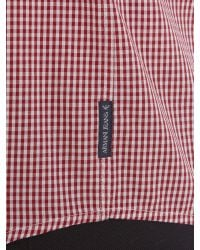 Armani Jeans - Red Regular Fit Pocket Logo Gingham Shirt for Men - Lyst