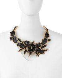 Oscar de la Renta - Metallic Enamel & Crystal Orchid Necklace - Lyst