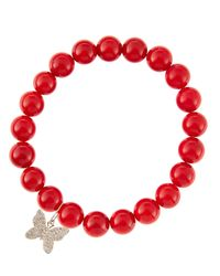 Sydney Evan - 8Mm Red Coral Beaded Bracelet With 14K Gold/Diamond Small Butterfly Charm (Made To Order) - Lyst