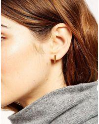 ASOS - Metallic Gold Plated Sterling Silver Triangle Hoop Earrings - Lyst