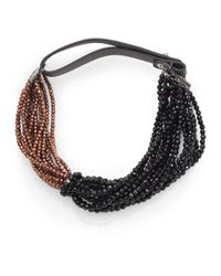 Brunello Cucinelli | Black Hematite Agate Leather Necklace | Lyst
