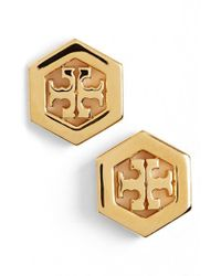 Tory Burch - Metallic Logo Hexagon Stud Earrings - Shiny Gold - Lyst