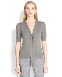 Michael Kors | Gray Puffed Sleeve Tieneck Sweater | Lyst