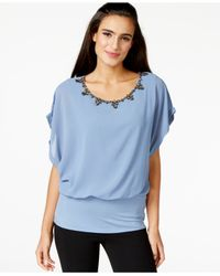 Joseph A | Blue Crystal-embellished Dolman-sleeve Top | Lyst