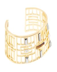 Trina Turk | Metallic Open Work Stone Cuff Bracelet | Lyst