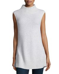 Neiman Marcus - White Sleeveless Cashmere Turtleneck W/zip Detail - Lyst