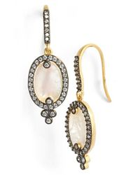 Freida Rothman | Metallic 'metropolitan' Oval Stone Drop Earrings - Gunmetal/ Mother Of Pearl | Lyst