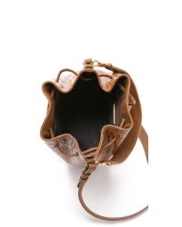 Elizabeth and James | Brown Croc Embossed Cynnie Bucket Bag - Camel | Lyst