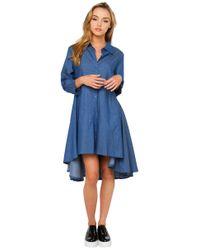 Gracia | Blue Hi-lo Dark Denim Dress | Lyst