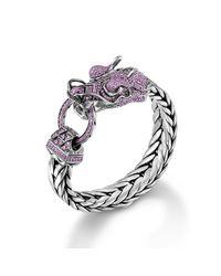 John Hardy - Pink Dragon Head Bracelet On Large Rectangular Chain - Lyst