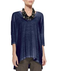 Eileen Fisher   Blue Arched Linen Tunic   Lyst