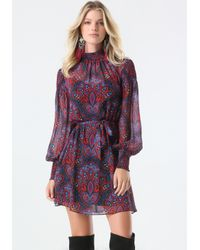 Bebe - Blue Print Smocked Dress - Lyst