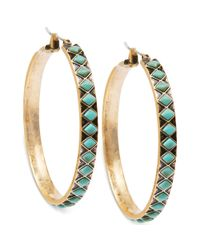 Lucky Brand - Blue Goldtone Turquoise Plastic Bead Hoop Earrings - Lyst