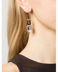 Rebecca | Metallic Elizabeth Clear Drop Earrings | Lyst