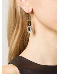 Rebecca - Metallic Elizabeth Clear Drop Earrings - Lyst
