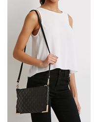 Forever 21 - Black Quilted Faux Leather Convertible Crossbody - Lyst