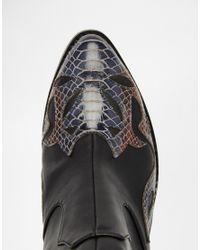 ASOS - Black Rutland Western Ankle Boots - Lyst