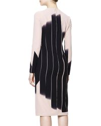 Bottega Veneta - Black Long-Sleeve Vertical Block Lines-Print Dress - Lyst