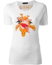 DSquared² | White Giraffe Print T-Shirt | Lyst