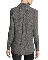 Haute Hippie - Gray Button-down Long-sleeve Printed Top - Lyst