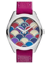 Armani Exchange | Purple Leather Strap Watch | Lyst