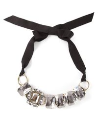 Lanvin - Black Ribbon Necklace - Lyst
